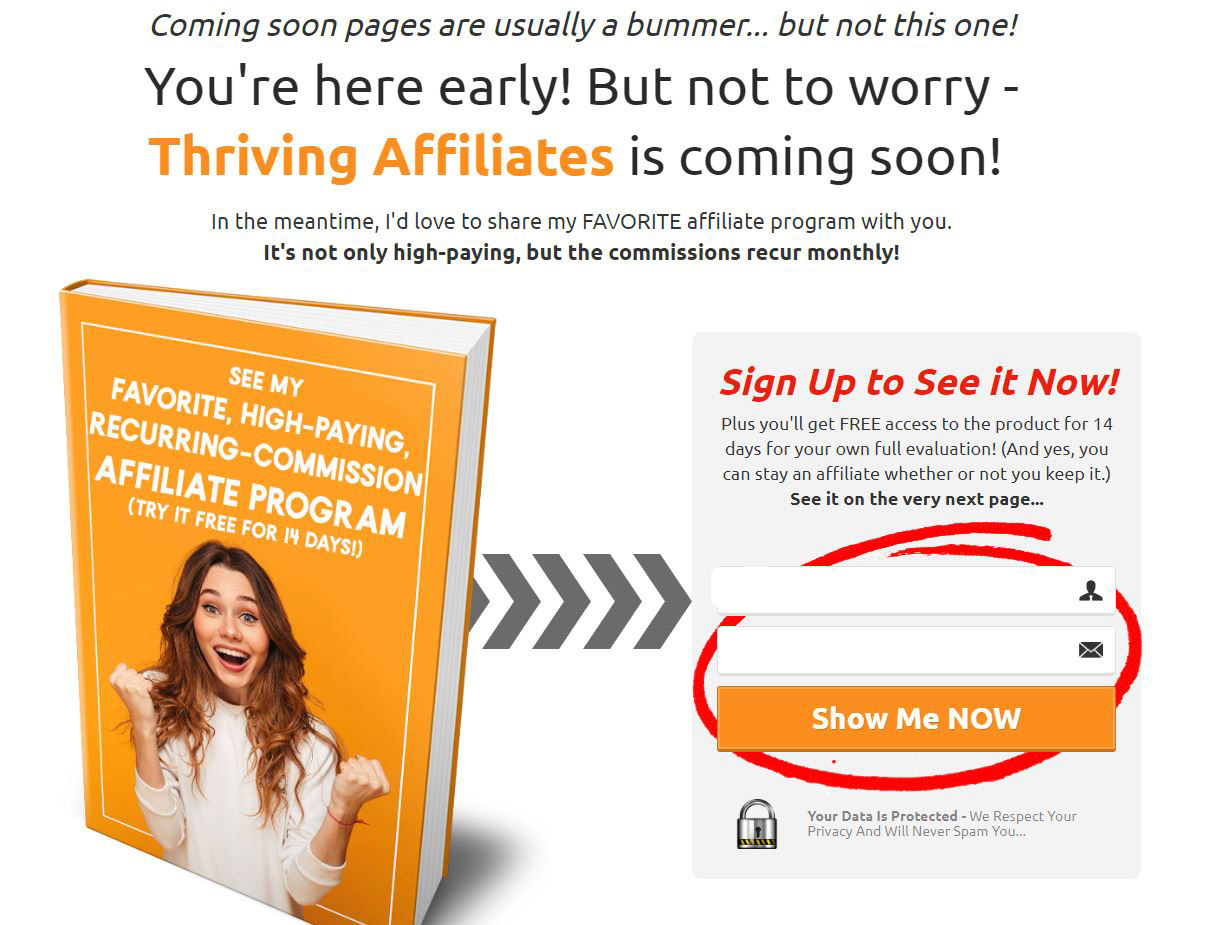An example of a coming soon page that collects email addresses - made with ClickFunnels by ThrivingAffiliates.com