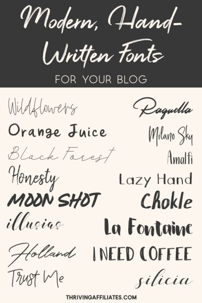 A collection of modern, hand-written fonts for your blog.